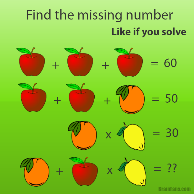 Oh Apples Are 20 Oranges Are 10 Lemons Are 3 So Orange Plus Apple Times Lemon Of Course Pemdas States I Must Maths Puzzles Math Pictures Brain Teasers