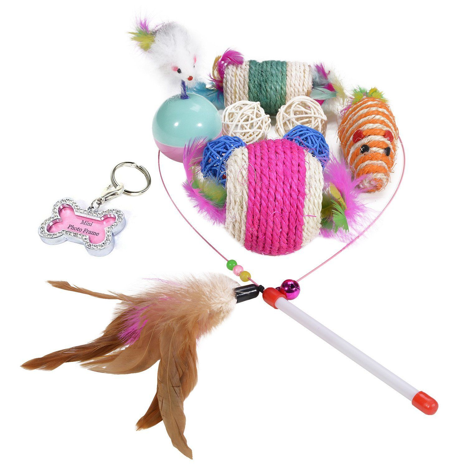 HTKJ Cat Toys 10pcs Teaser/Exerciser Interactive Cat Wand, Sisal Rope Ball Catnip Chew Mice with Feather, Pet ID Tag For Dog Cat ** Check out the image by visiting the link.