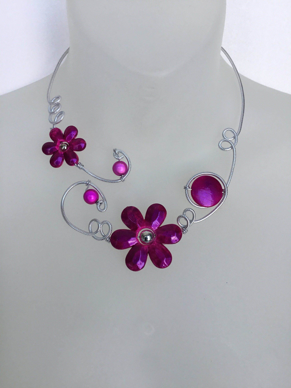 Open Collar Necklace Lesbijouxlibellule Funky Jewelry Flower Necklace Prom Jewelry Purple Jewelry Fuchsia Jewe In 2020 Funky Jewelry Purple Jewelry Prom Jewelry