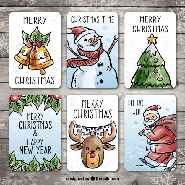 Download Pack Of Hand Drawn Christmas Cards With Watercolor Effect