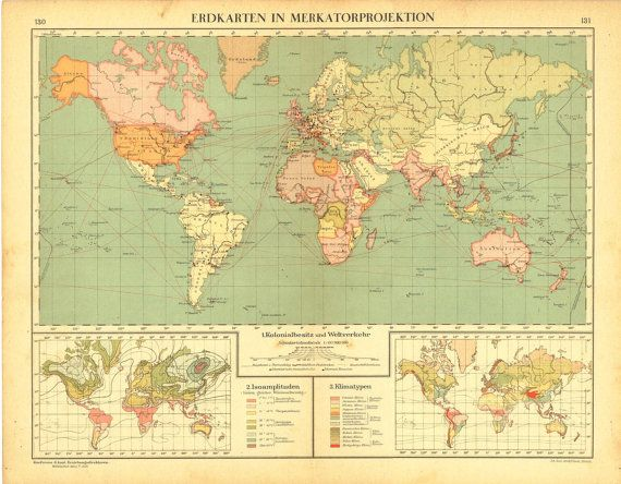 Antique world map mercator projection by carambasvintage on etsy antique world map mercator projection by carambasvintage on etsy 3000 gumiabroncs Images