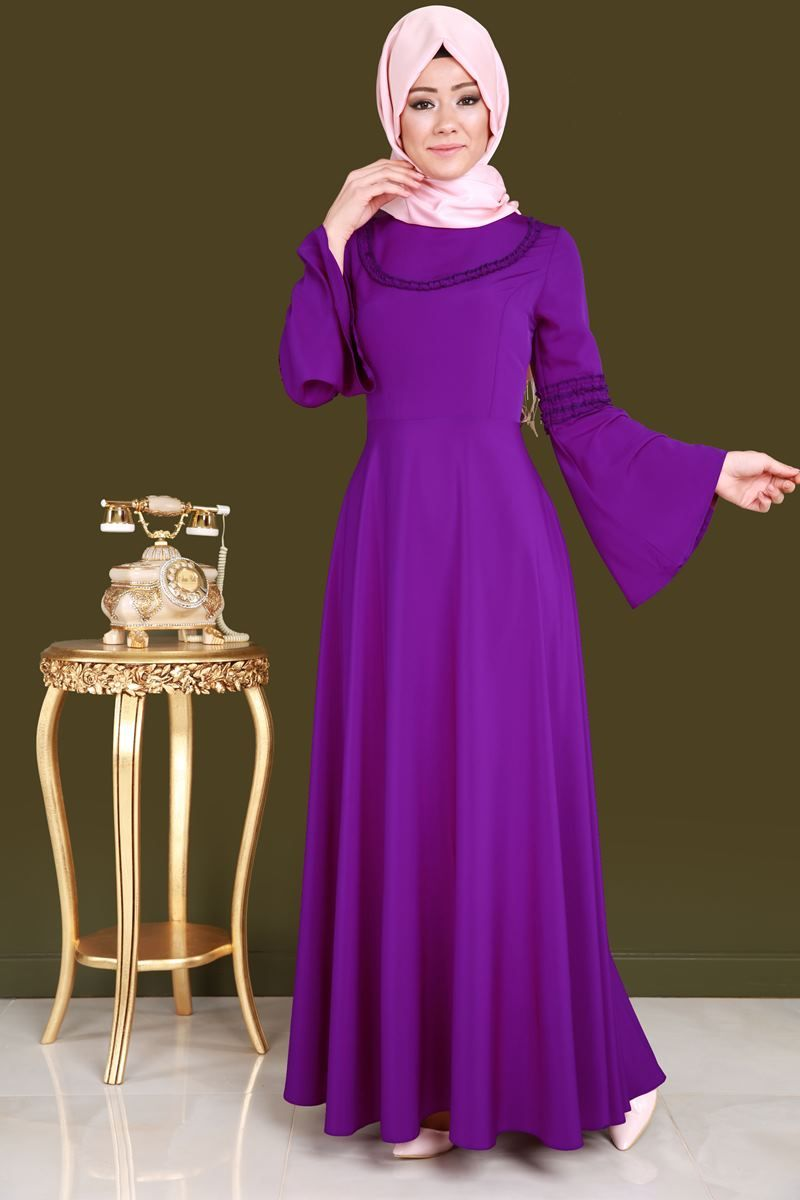 Yeni Urun Mevlana Etekli Tesettur Elbise Mor Urun Kodu Biss4158 84 90 Tl Elbise The Dress Aksam Elbiseleri