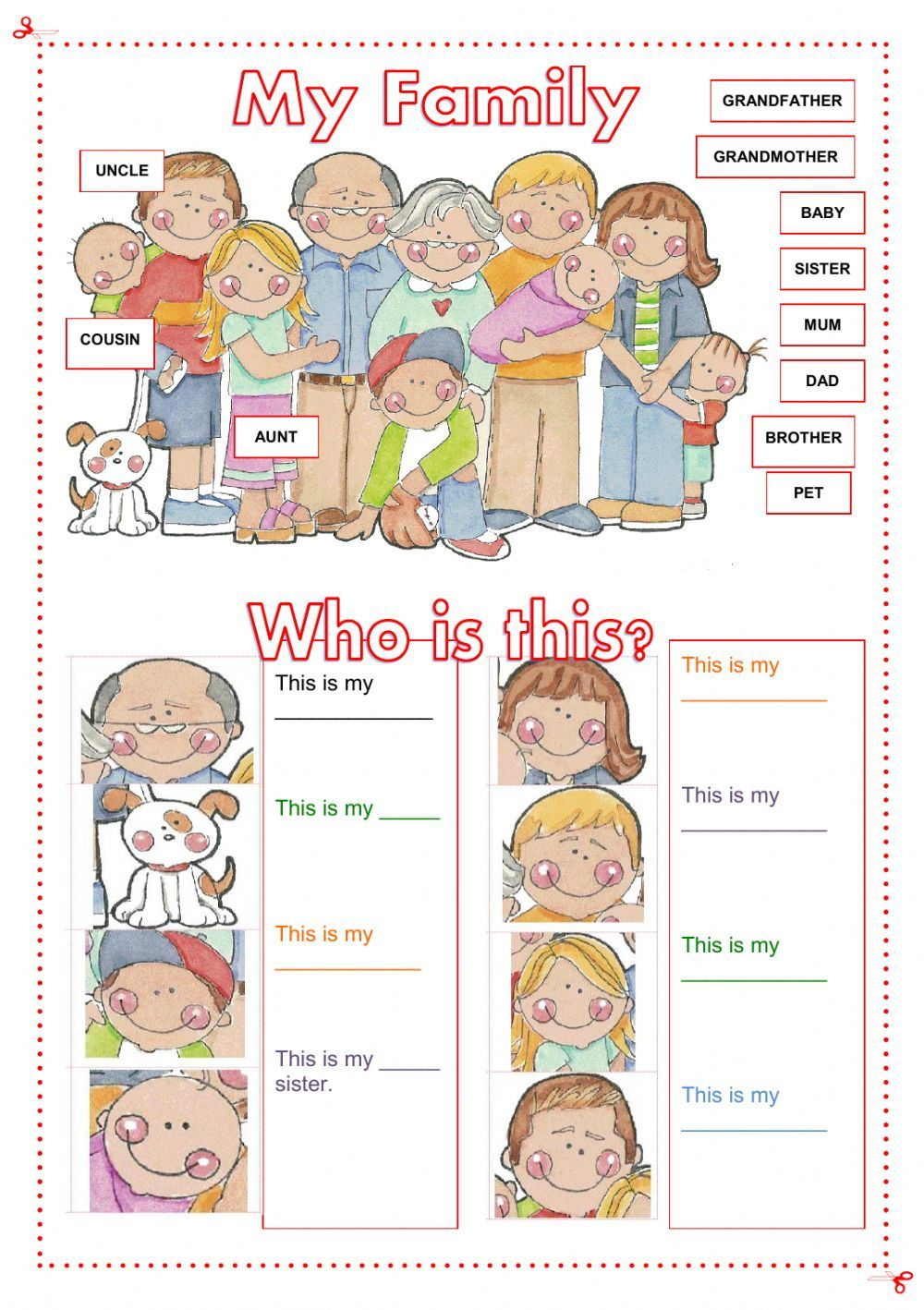 family members interactive and downloadable worksheet