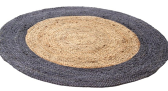 Border Handmade Round Jute Rug Grey And Natural 120 Cm Diameter