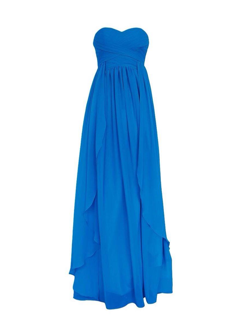 A long flowing blue bridesmaid dress yes wedding ideas