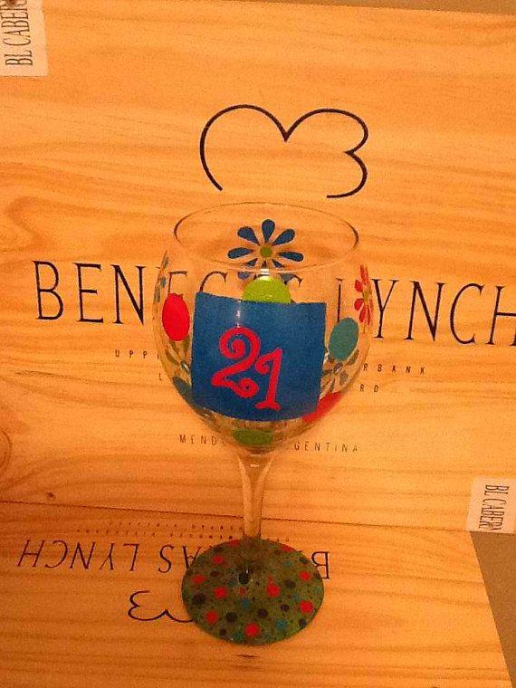 Handpainted 21 Wine Glass by brandiedmonds on Etsy, $20.00