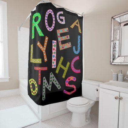 Fun Colorful Alphabet Letters Design Black Shower Curtain ...