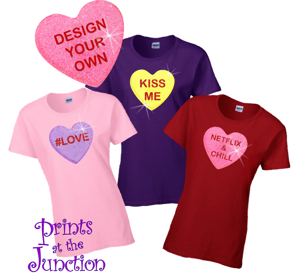 CUSTOM PERSONALISED DESIGN I HEART//LOVE YOUR TEXT T-SHIRT LADIES