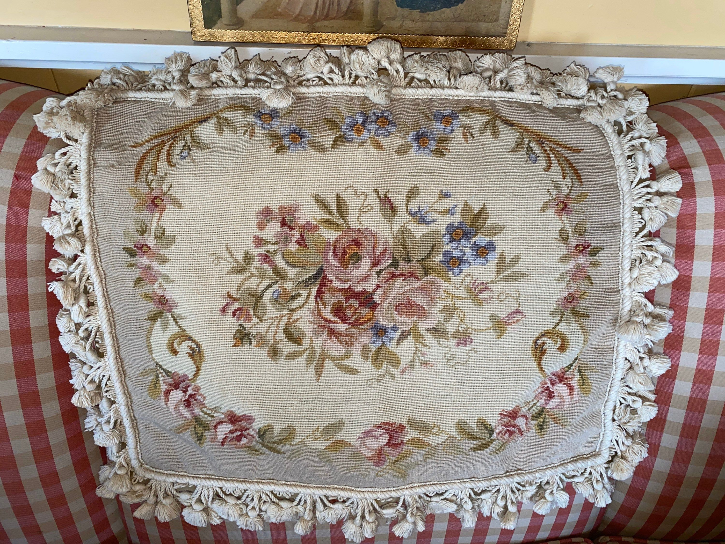 French Chic Aubusson Petit point Needlepoint Tassel Fringe Floral Pillow