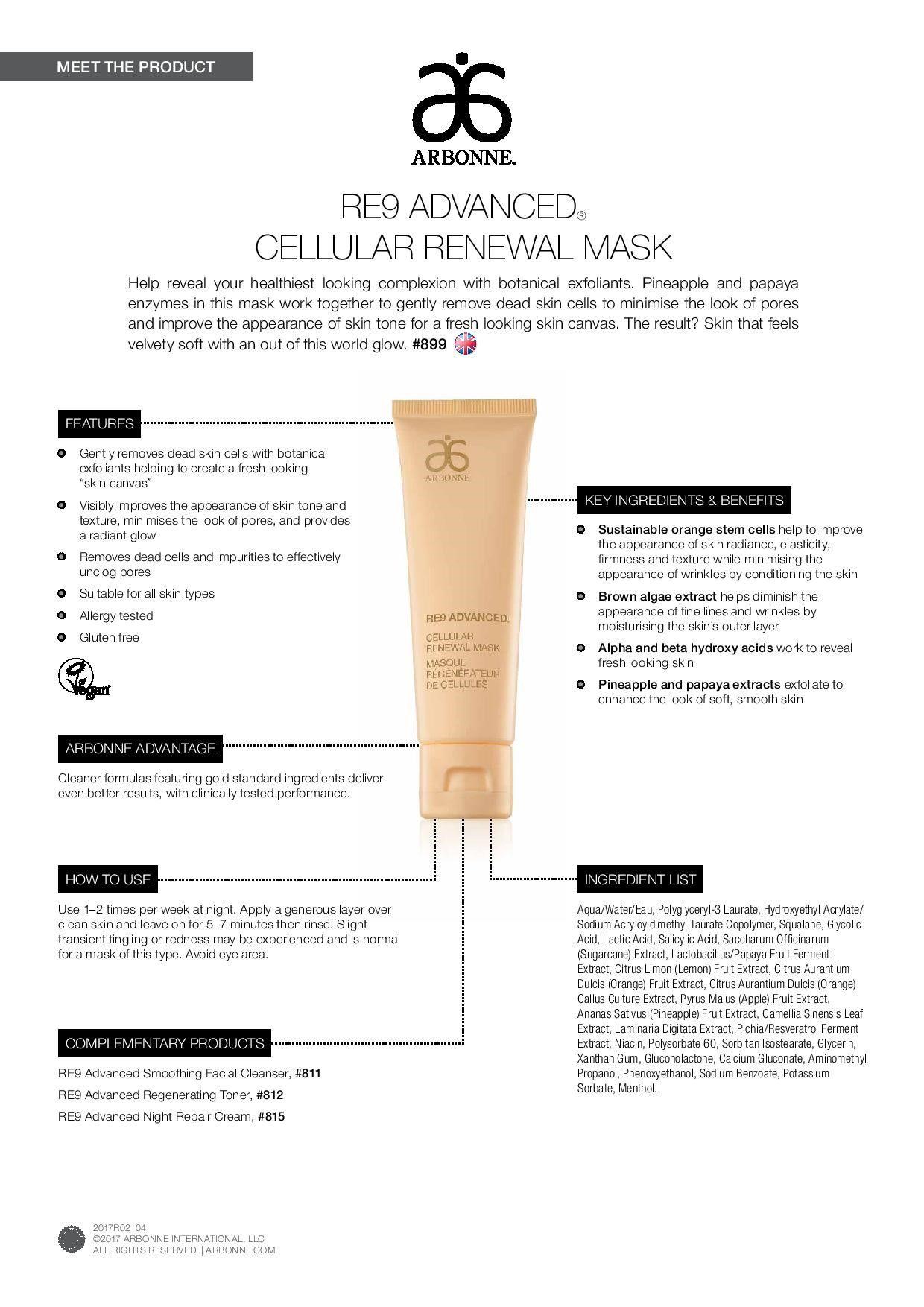 Arbonne | RE9 Advanced Cellular Renewal Mask | Anti-Aging