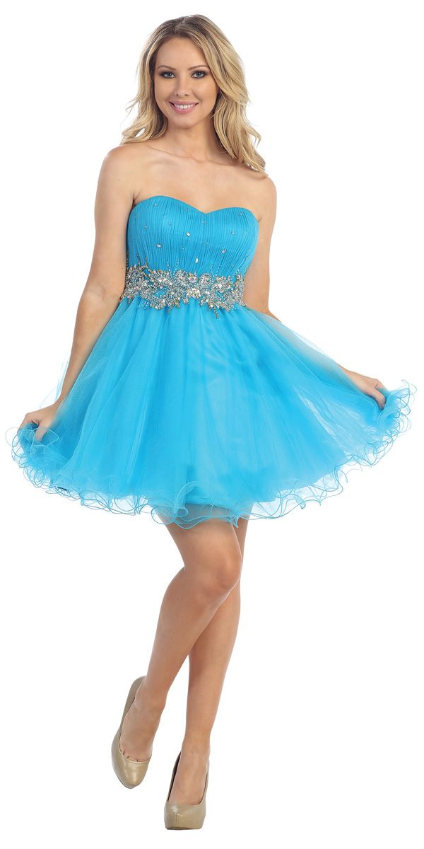 Poofy Turquoise Homecoming Dress Short Strapless Tulle Skirt Puffy ...