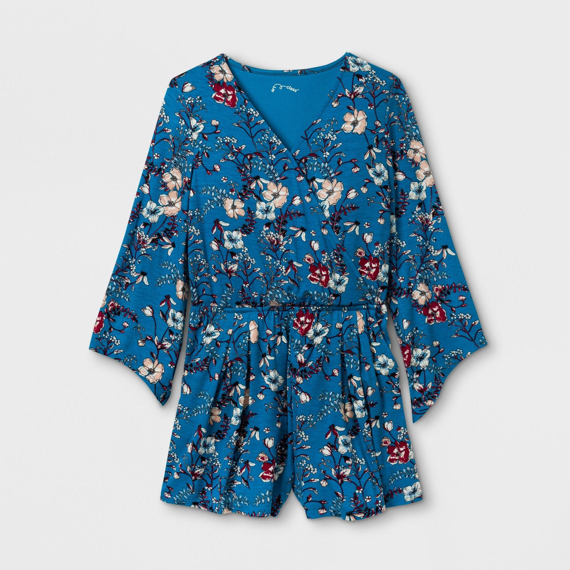 Girls long sleeve knit rompers art class bluerust
