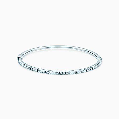 e4179c4fa Tiffany Metro hinged bangle in 18k white gold with diamonds, medium ...