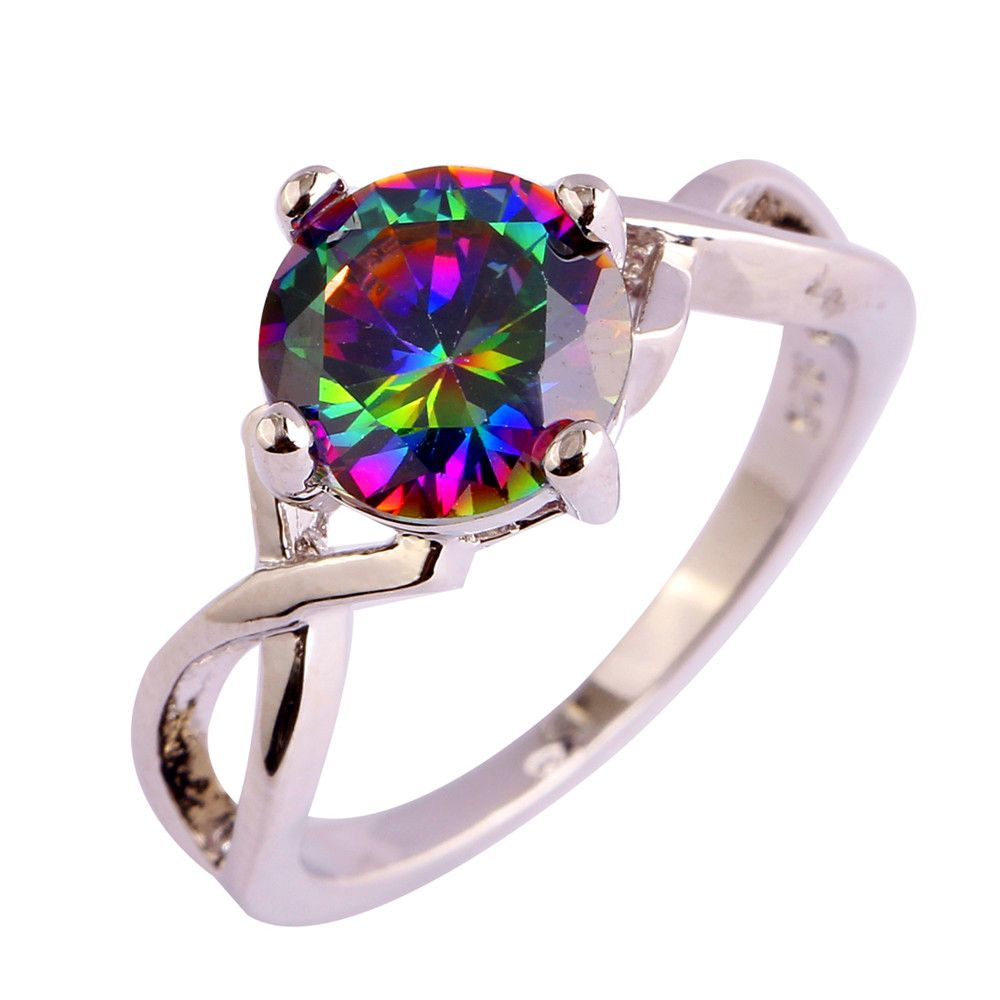 F/&F Ring Princess Cut Purple White Zircon Jewelry Silver Color Ring For Women Party Wedding Rings