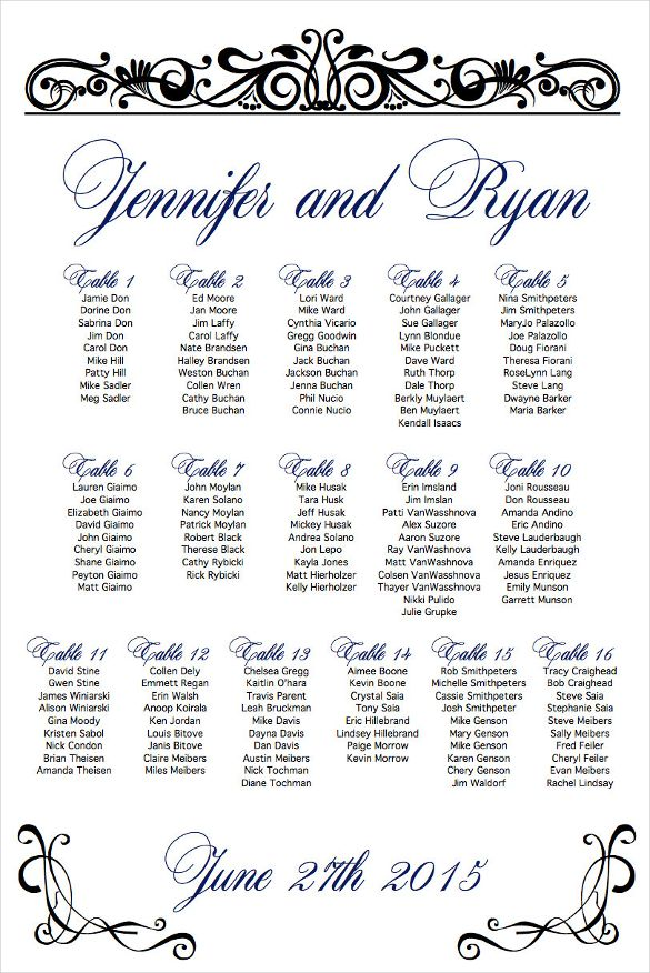 Wedding seating chart template examples in pdf word free  premium templates also jw bls pinterest rh