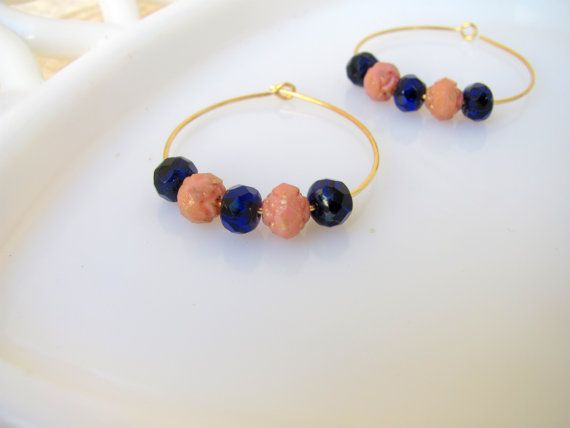 cobalt blue and gold-pink beaded hoops