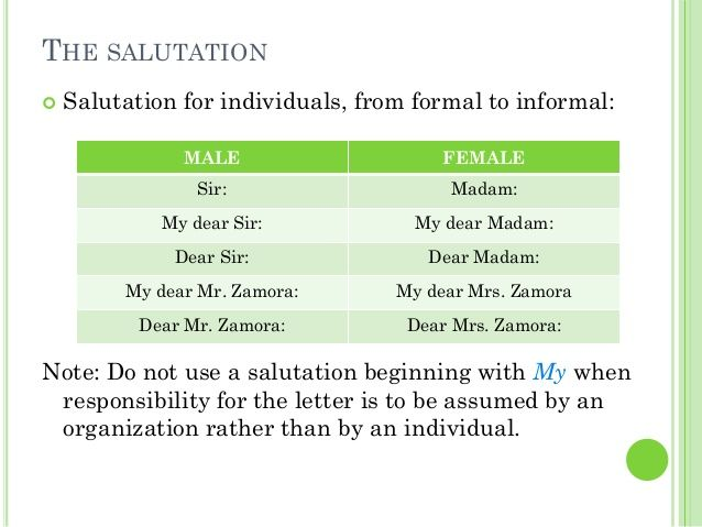 The Salutation For Individuals From Formal Informal Note How