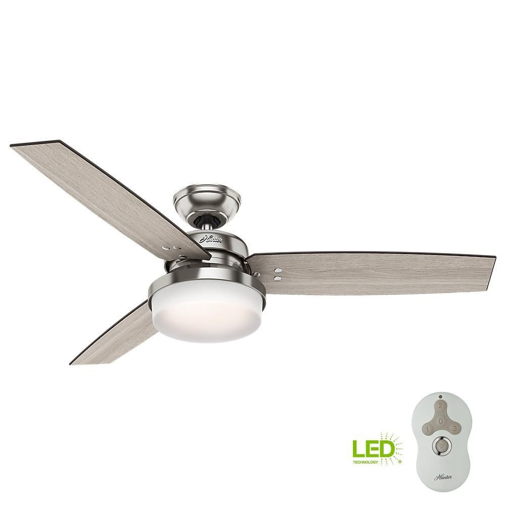 Hunter Sentinel 52 In Led Indoor Brushed Nickel Ceiling Fan With Light Kit And Universal Remote 59157 Brushed Nickel Ceiling Fan Ceiling Fan Brushed Nickel