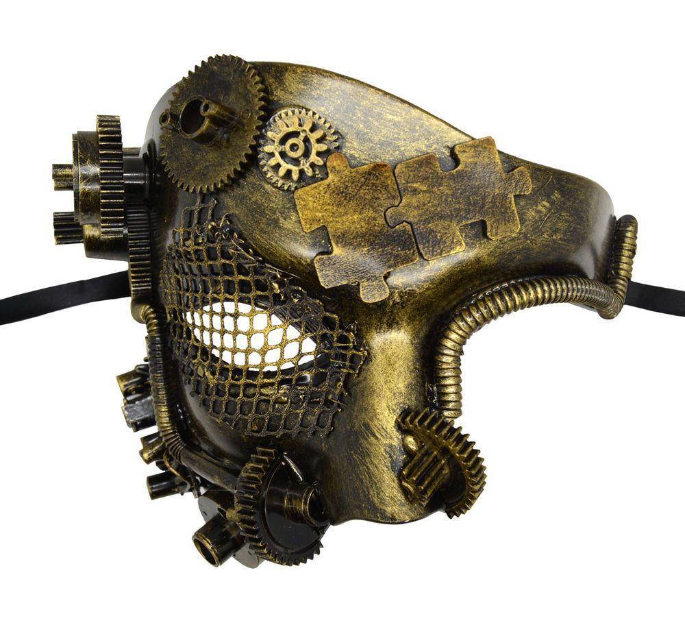 Steam Punk Phantom Vintage Mechanical Men Venetian Mask for Masquerade-Gold