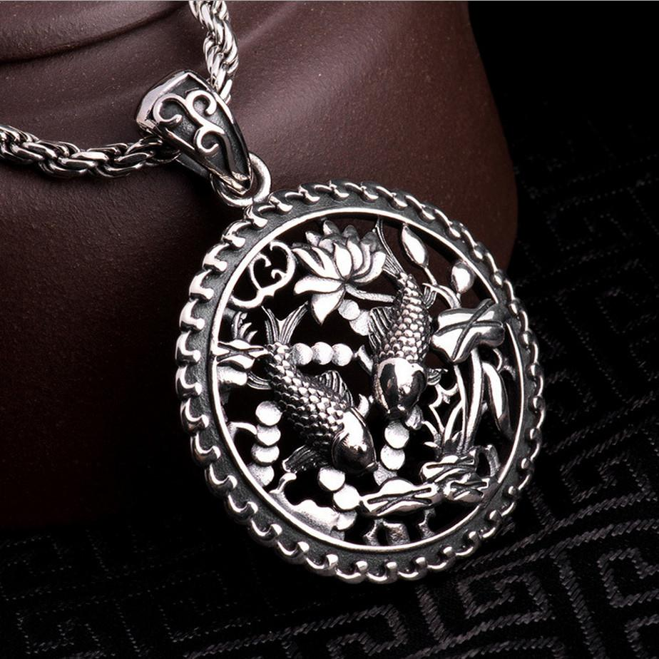 S solid silver double fish pendant for necklace men jewelry