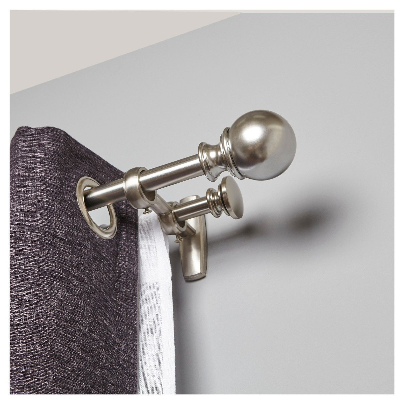 Brushed Nickel Double Curtain Rod Ball Double Curtain Rod Set Brushed Nickel 7 8