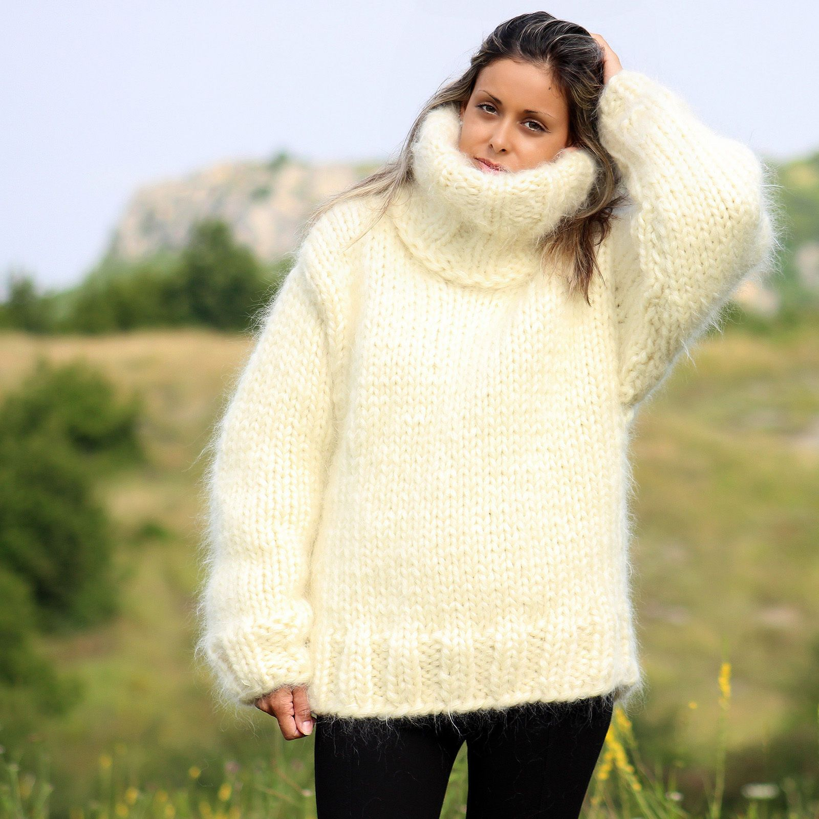 10 Strands WHITE Hand Knitted Mohair Sweater FUZZY Pullover by ...