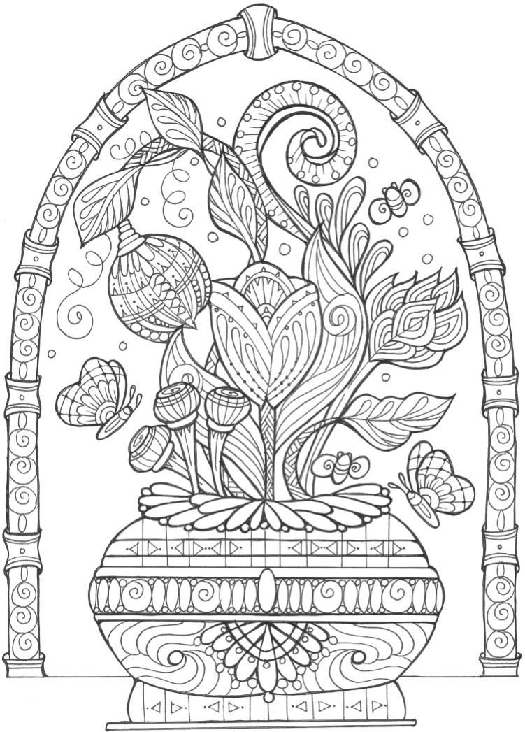 Vase Of Flowers Adult Coloring Page Flower Coloring Pages