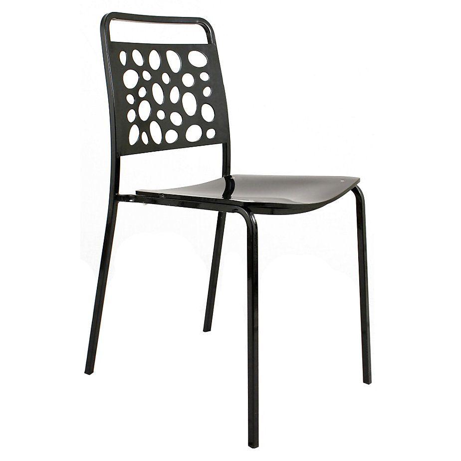 Gen rico silla fija acero acr lico negro for Sillas ergonomicas sodimac
