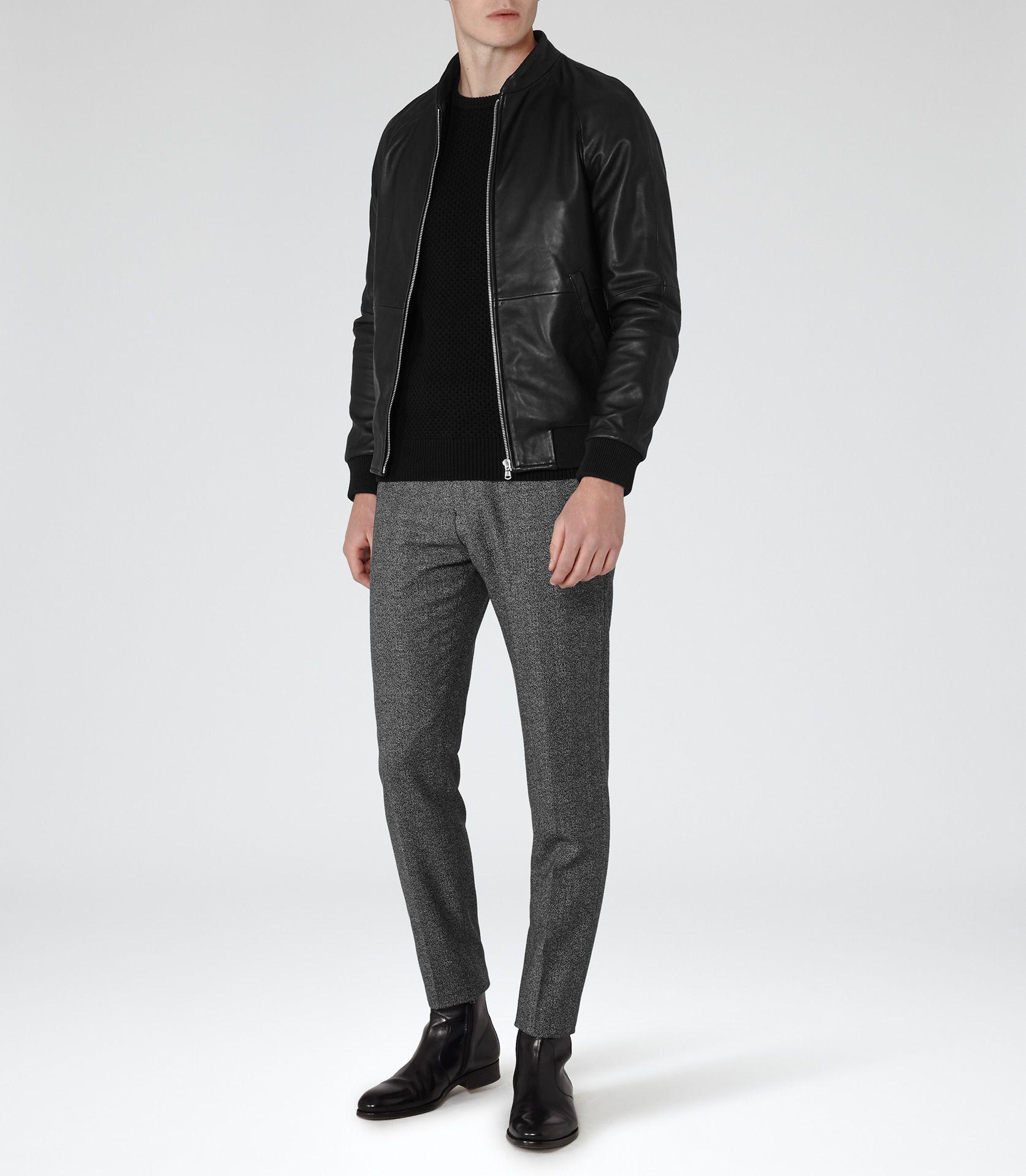 6c3273dc7 Mens Black Leather Bomber Jacket - Reiss Kent   Men's Style   Black ...