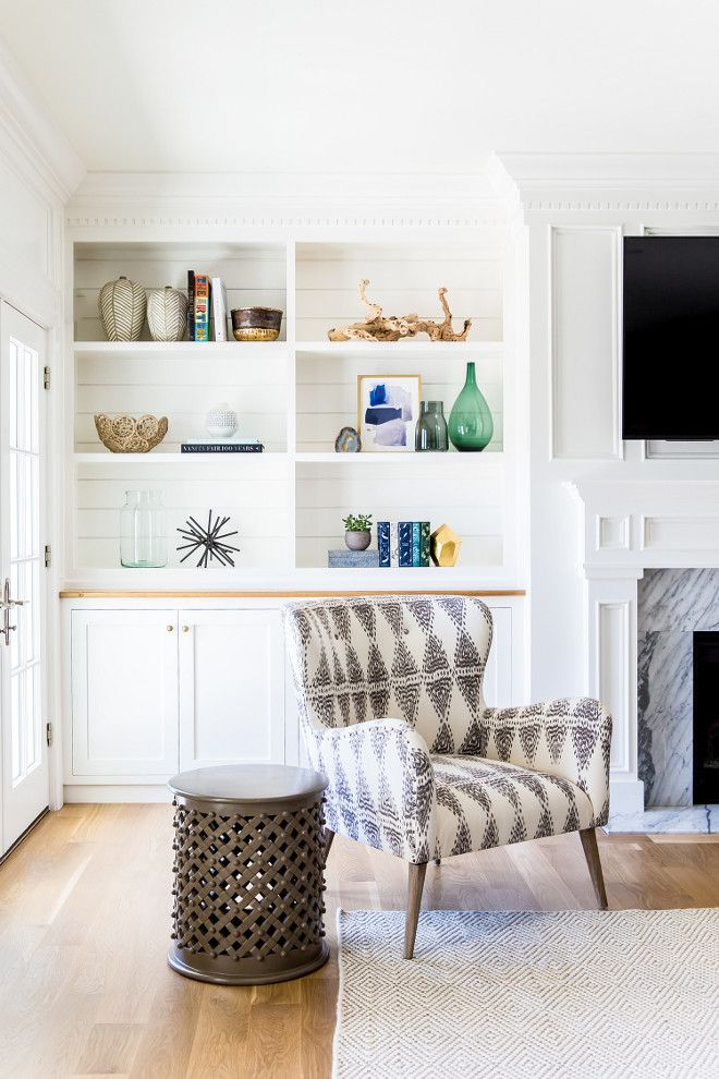White Built In Bookcase With Shiplap On The Back Shiplap Bookcase Studio Mcgee Living Room Decor Room Decor Room Design
