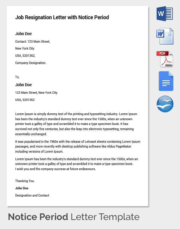 Notice Period Letter Templates Free Sample Example Format Service