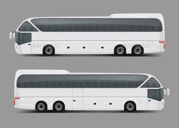 Private Charter Tour Or Coach Bus Realistic Vector Bus Vector