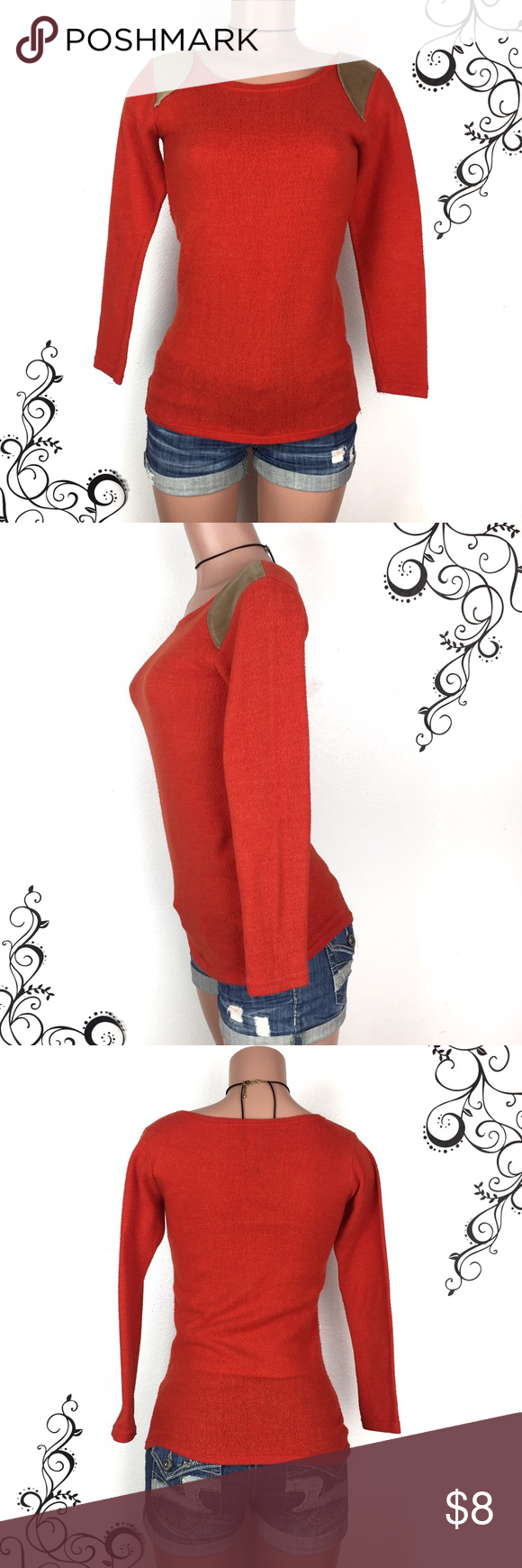 """Red orange fuzzy sweater w corduroy shoulders Red orange fuzzy sweater with camel colored corduroy shoulder accents.  Warm non-itchy  fabric.  I bought this to keep me warm when I was in Korea.   Condition: worn and washed about 5 times, some pilling, no other visible flaws, good condition overall Size: XS Chest: 15.5 inches Length: 26"""" Arms: 17"""" 🚫trade, final price Korean Boutique Sweaters Crew & Scoop Necks"""