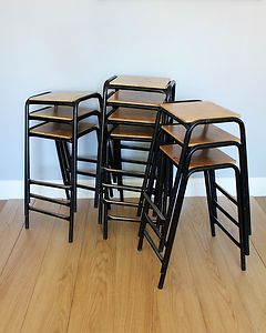 Terrific 600Mm Vintage School Stacking Lab Stools Industrial Metal Beatyapartments Chair Design Images Beatyapartmentscom