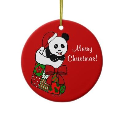 Panda Cartoon Christmas Ornament You Can Personalize This Christmas Panda Panda Bear Crafts Christmas Ornaments