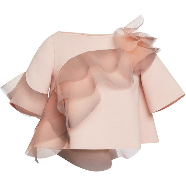 Marc Jacobs Rose Wool Crepe Top With Ruffle Detail ($2,900) ❤ liked on Polyvore featuring tops, blouses, shirts, marc jacobs, rose, pink ruffle blouse, frilly shirt, ruffle shirt, asymmetric blouse and pink top