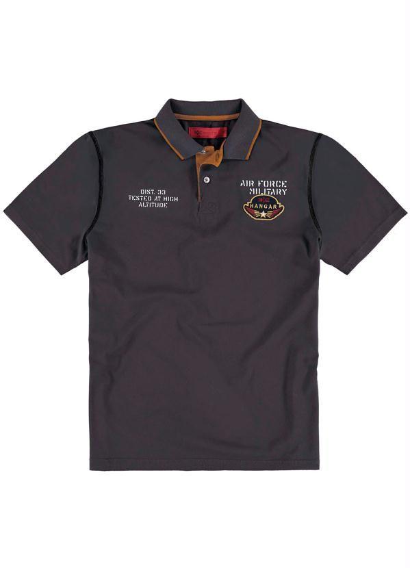 8d989f9202 Camisa Polo Bordado e Estampa Cinza Hangar 33 - Posthaus