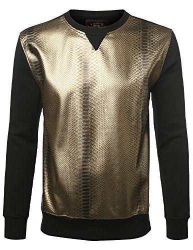 6cc39eeed1e973 URBANCREWS Mens Hipster Hip Hop Metallic Croc Skin Crewneck Sweatshirts  Pullover
