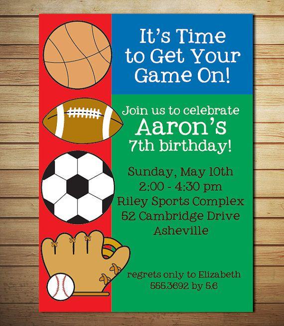 Sports Birthday Invitation Birthday Party by lollipopsandunicorns – Sport Birthday Invitations