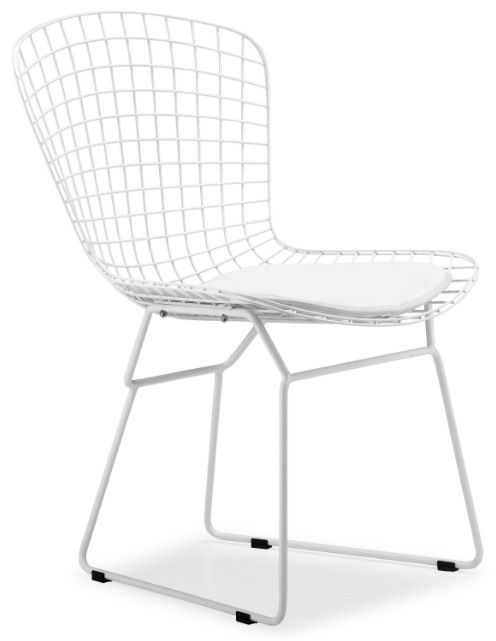 Bertoia Side Chair With White Frame Wire Dining Chairs Bertoia Side Chair Side Chairs