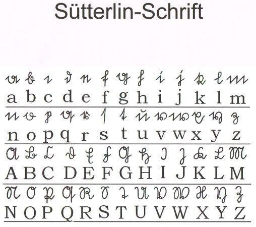 Sutterlin Schrift Lettering Handwritten Type Fonts Alphabet