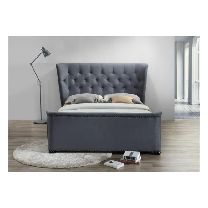 Best Barkley King Size Grey Velvet Fabric Bed Upholstered Bed 400 x 300