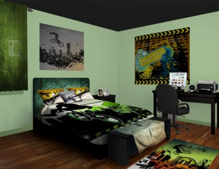 If you like bmx you will love this room with a color for Bmx bedroom ideas