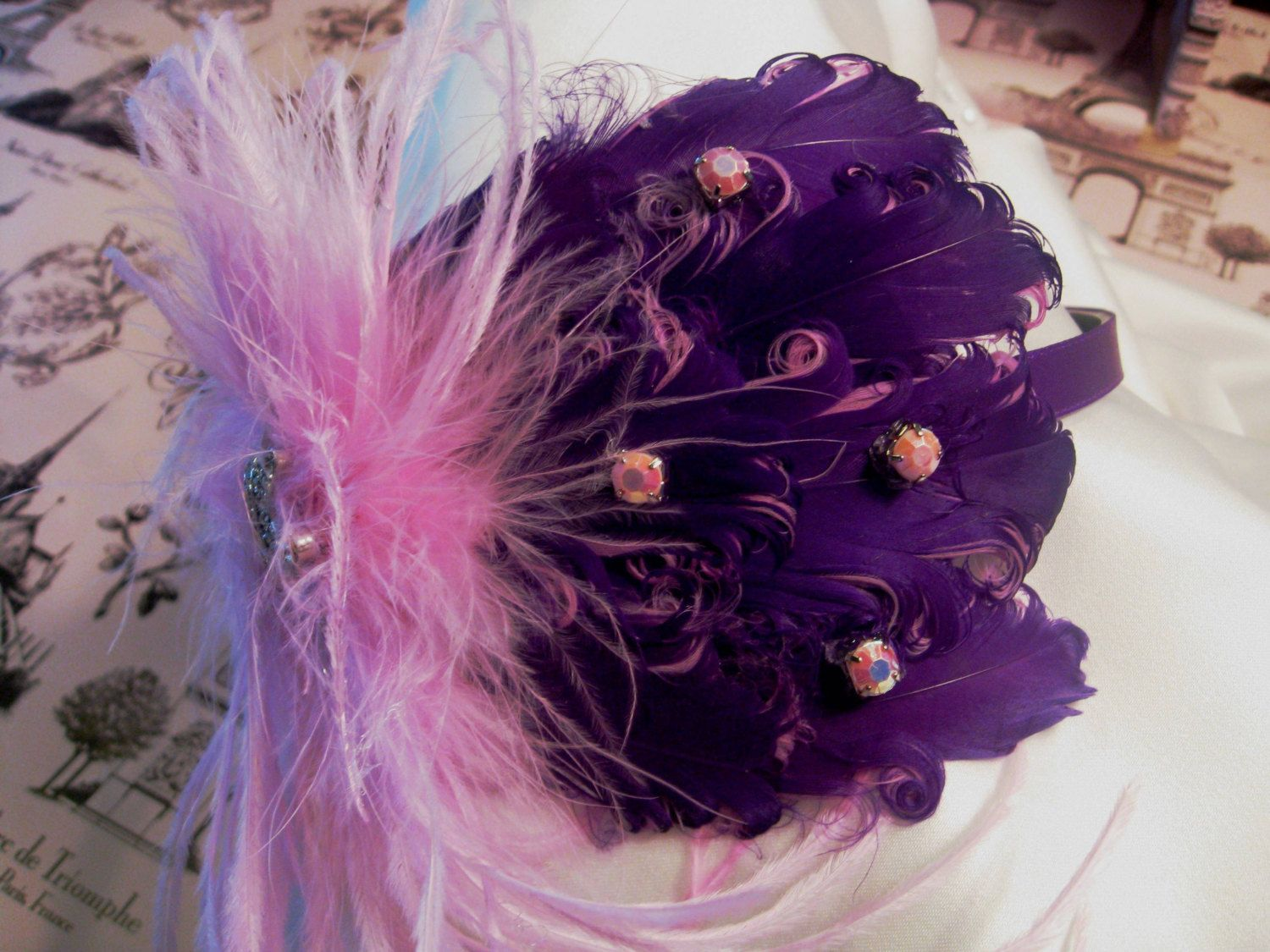 Jeweled Tiara Pink Ostrich Feather on a by COUTURETHIS on Etsy