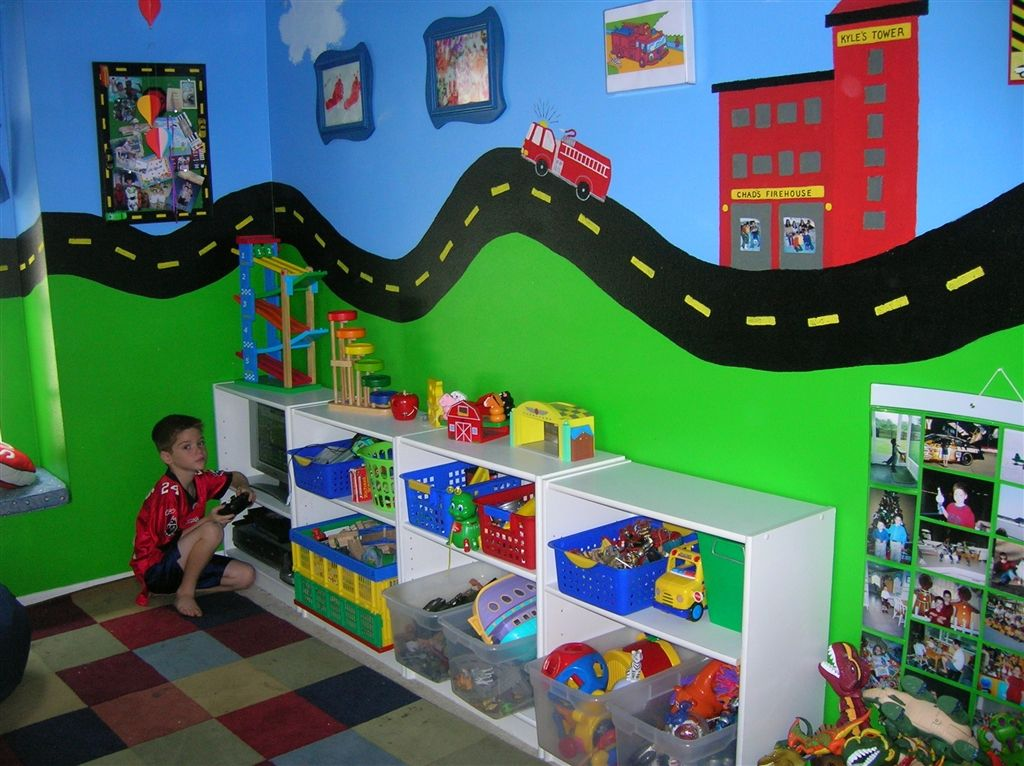 """boys playroom 2  """"danger, construction zone"""" boys play game bed room truck construction wall mural road way hand painted custom"""