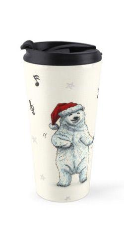 """""""The polar bears wish you a Merry Christmas"""" Travel Mug by Savousepate on Redbubble #travelmug #mug #christmas #xmas #funny #cute #music #dancing #drawing"""