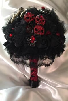 Beautiful Gothic Or Halloween Brooch Wedding Bouquet Black And
