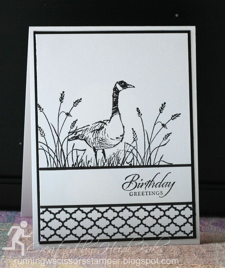 Heidi Baks of RunningwScissorsStamper: The Stamp Review Crew: Wetlands Stampin' Up!, SU, birthday, masculine, birds, beach, nature, summer silhouettes, goose, black and white, clean and simple, card