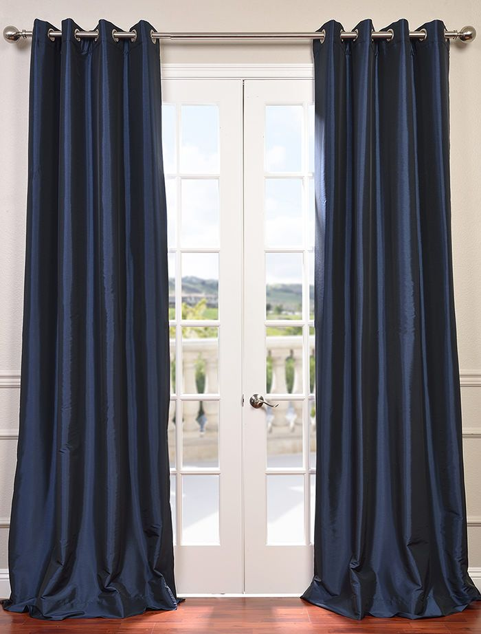 Navy Blue Grommet Blackout Faux Silk Taffeta Curtain Navy Blue Curtains Blue Curtains Living Room Half Price Drapes