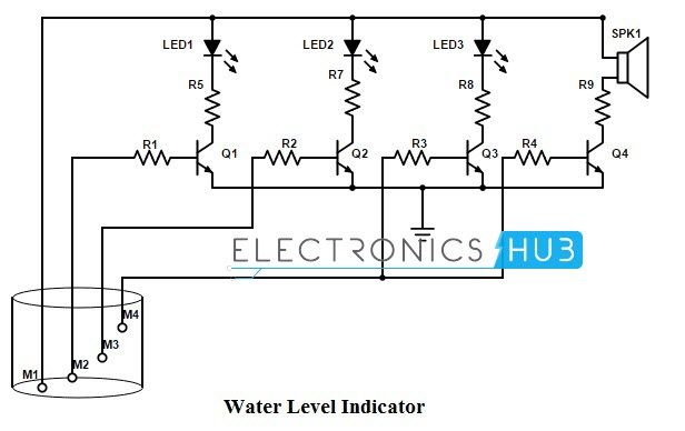 simple water level indicator with alarm (3 tested circuits Voltage Circuit Diagram
